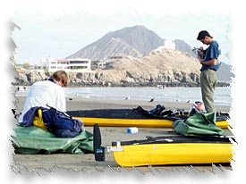 Kayakers preparing to depart for Cabo San Lucas.